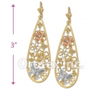 EL029 Gold Layered CZ Tri-color Long Earrings