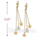 EL031 Gold Layered Tri-color Long Earrings