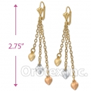 EL032 Gold Layered Tri-color Long Earrings