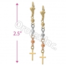 EL033 Gold Layered  Tri-Color Long Earrings