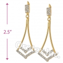 EL034 Gold Layered CZ Long Earrings