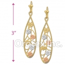 EL037 Gold Layered Tri-color Long Earrings