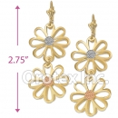 EL040 Gold Layered Tri-Color Long Earrings
