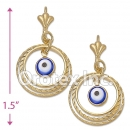 EL046 Gold Layered Blue Eye Long Earrings