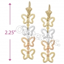 EL051 Gold Layered  Tri-Color Long Earrings