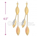 EL053C Gold Layered Tri-Color Long Earrings