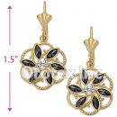 EL054 Gold Layered CZ Long Earrings