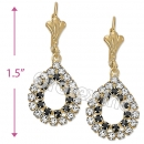 EL056 Gold Layered CZ Long Earrings
