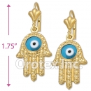 EL057 Gold Layered Blue Eye Long Earrings