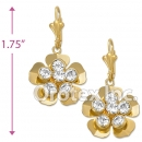 EL060 Gold Layered CZ Long Earrings