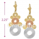 EL061cGold Layered Tri-Color Long Earrings