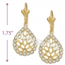 EL062 Gold Layered CZ Long Earrings