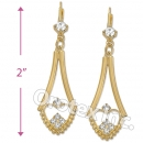 EL063 Gold Layered CZ Long Earrings