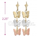 EL065C Gold Layered Tri-Color Long Earrings