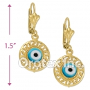 EL066 Gold Layered Blue Eye Long Earrings