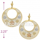 EL067 Gold Layered Tri-Color Long Earrings
