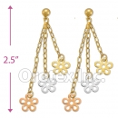 EL068 Gold Layered  Tri-Color Long Earrings