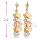 EL068C Gold Layered Tri-Color Long Earrings