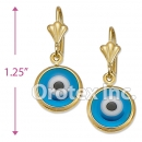 EL071 Gold Layered Blue Eye Long Earrings