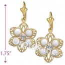EL072 Gold Layered CZ Long Earrings