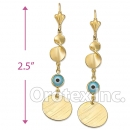 EL073 Gold Layered Blue Eye Long Earrings
