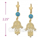 EL077 Gold Layered Blue Eye Long Earrings