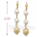 EL079 Gold Layered Pearl Long Earrings