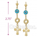 EL083 Gold Layered Blue Eye Long Earrings