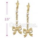 EL084 Gold Layered Pearl Long Earrings