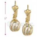 EL085 Gold Layered Pearl Long Earrings