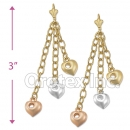 EL088 Gold Layered Tri-color Long Earrings