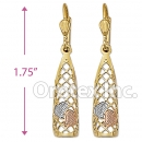 EL089 Gold Layered Tri-Color Long Earrings