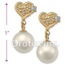 EL090 Gold Layered Pearl Long Earrings