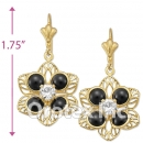 EL091 Gold Layered Tri-Color Long Earrings