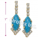 EL092 Gold Layered CZ Long Earrings