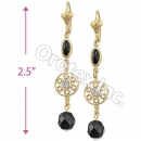 EL101 Gold Layered CZ Long Earrings