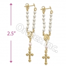 EL104 Gold Layered Pearl Long Earrings