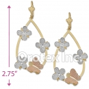 EL110 Gold Layered Tri-Color Long Earrings