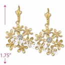 EL111 Gold Layered CZ Long Earrings