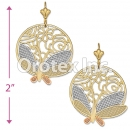 EL113 Gold Layered Tri-Color Long Earrings