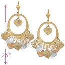 EL116 Gold Layered  Tri-Color Long Earrings