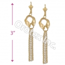 EL118 Gold Layered CZ Long Earrings