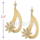 EL119 Gold Layered CZ Long Earrings