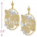 EL121 Gold Layered  Two Tone Long Earrings
