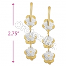 EL122 Gold Layered  Two-Tone Long Earrings