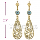 EL123 Gold Layered Blue Eye Long Earrings