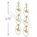 EL124 Gold Layered  Tri-Color Long Earrings