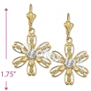 EL126 Gold Layered CZ Long Earrings