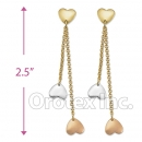 EL127 Gold Layered  Tri-Color Long Earrings