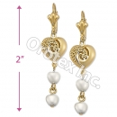 EL130 Gold Layered Pearl Long Earrings
